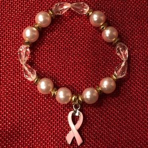 Pink Pearl Pink Ribbon Bracelet
